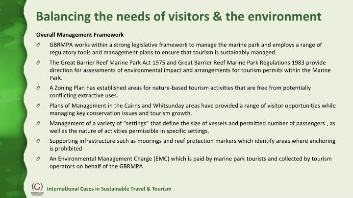 Balancing the needs of visitors & the environment