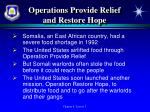 operations provide relief and restore hope