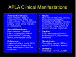 apla clinical manifestations