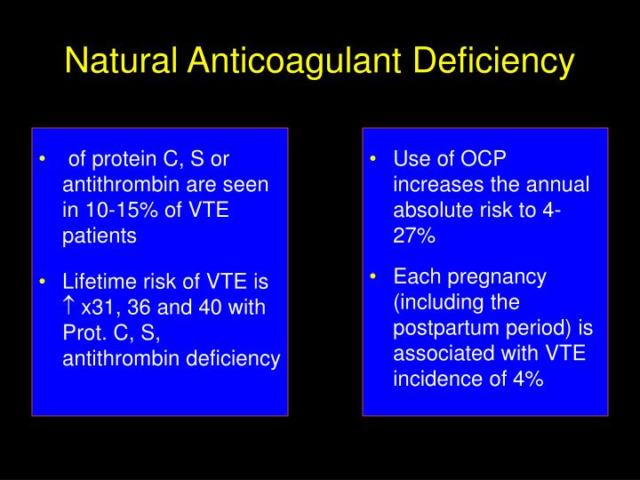 of protein C, S or antithrombin are seen in 10-15% of VTE patients