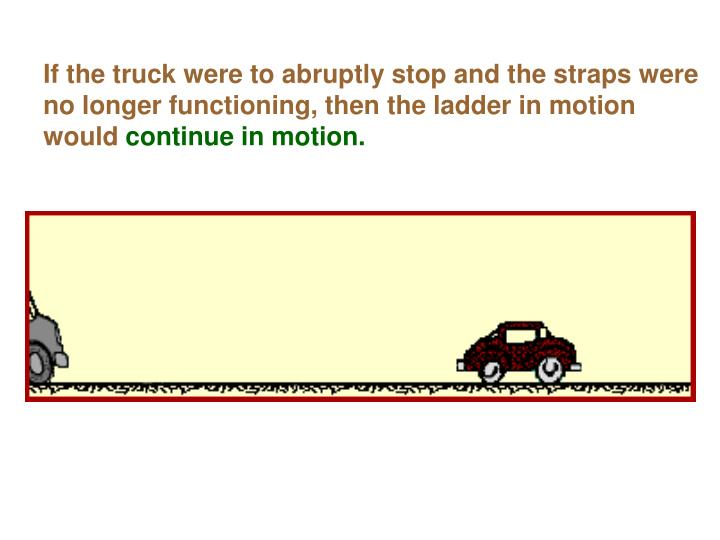 If the truck were to abruptly stop and the straps were no longer functioning, then the ladder in motion would