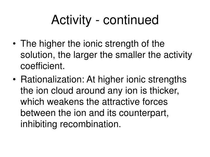 Activity - continued