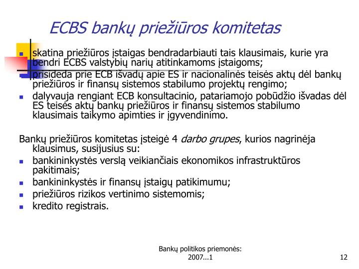 ECBS bankų priežiūros komitetas