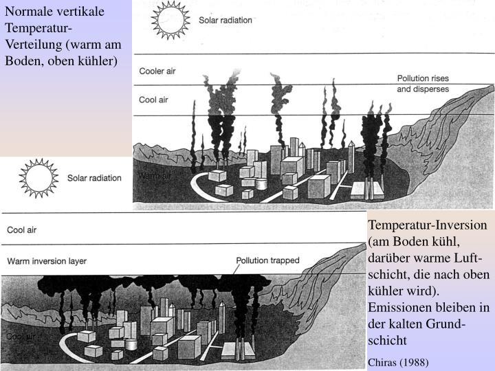 Normale vertikale Temperatur-Verteilung (warm am Boden, oben kühler)