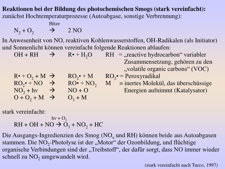 Reaktionen bei der Bildung des photochemischen Smogs (stark vereinfacht):