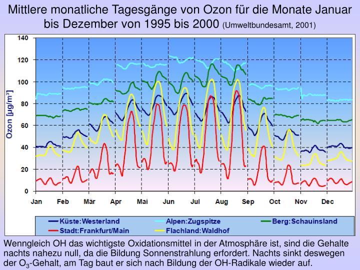 Mittlere monatliche Tagesgänge von Ozon für die Monate Januar bis Dezember von 1995 bis 2000