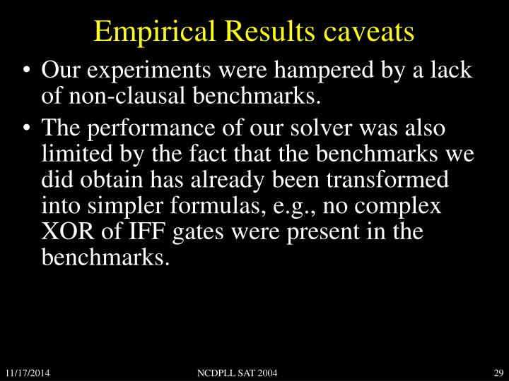 Empirical Results caveats