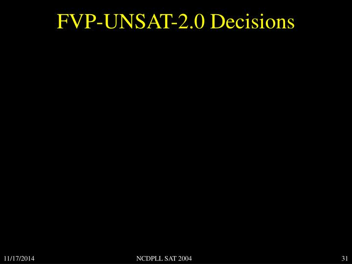 FVP-UNSAT-2.0 Decisions