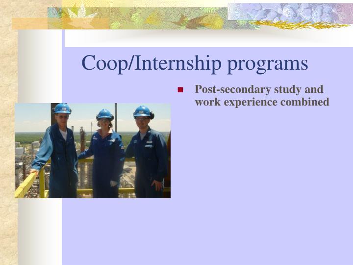 Coop/Internship programs