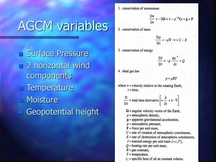 AGCM variables