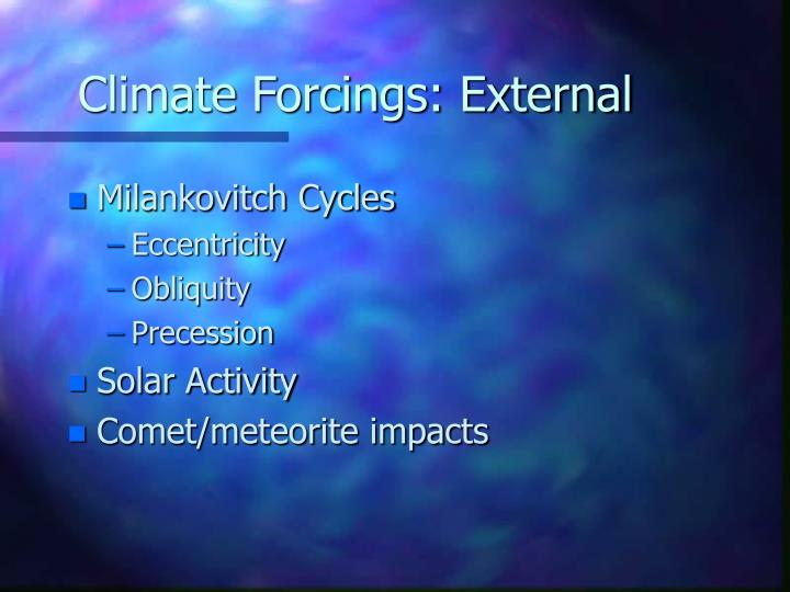 Climate Forcings: External