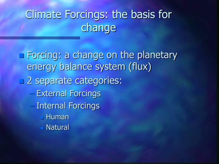 Climate Forcings: the basis for change
