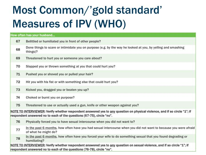Most Common/'gold standard' Measures of IPV (WHO)