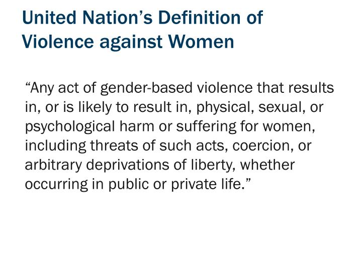 United nation s definition of violence against women