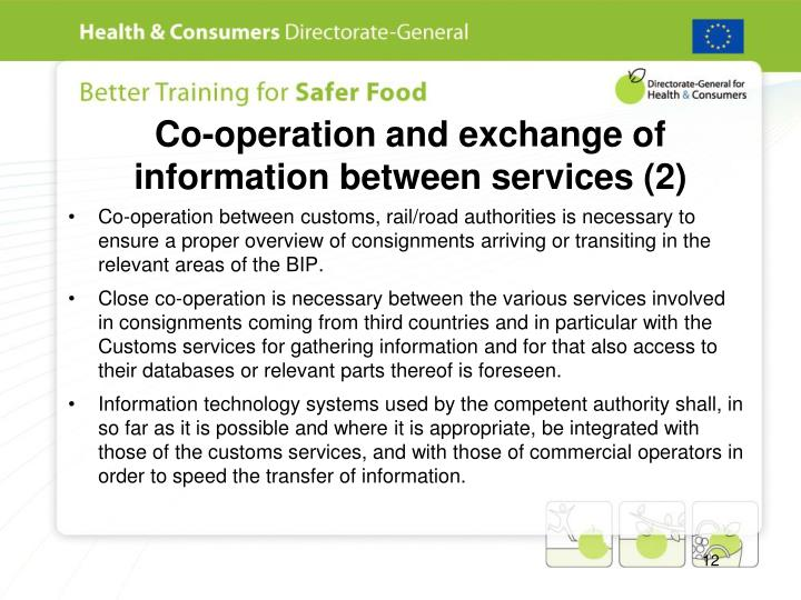 Co-operation and exchange of information between services (2)