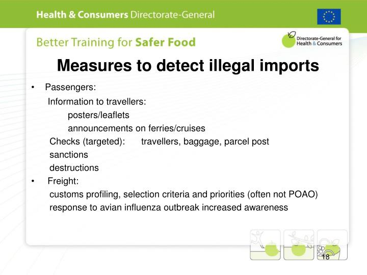 Measures to detect illegal imports