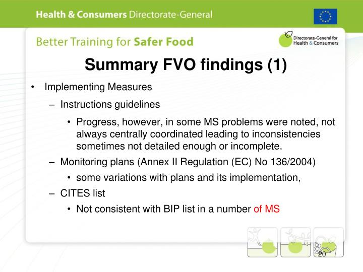 Summary FVO findings (1)