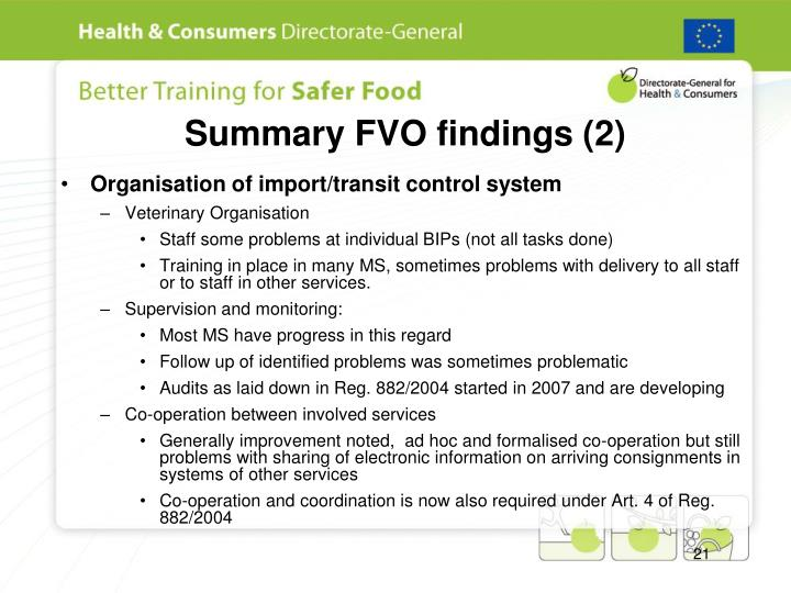 Summary FVO findings (2)