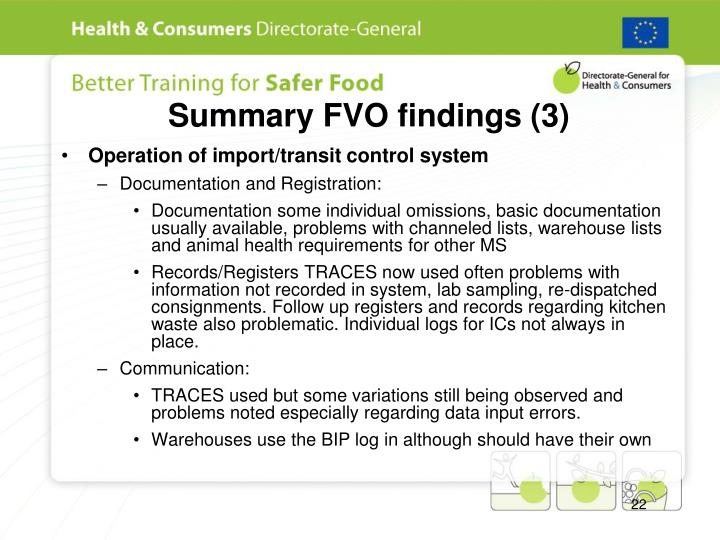 Summary FVO findings (3)
