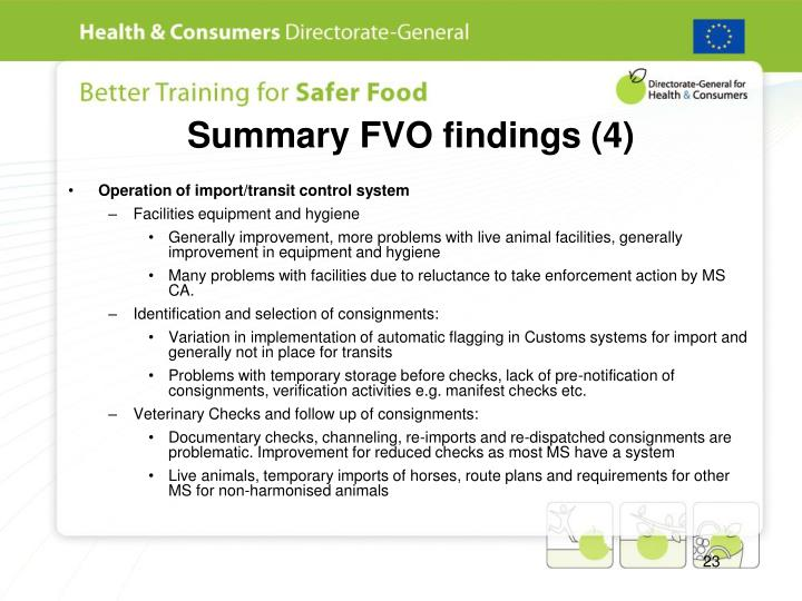 Summary FVO findings (4)