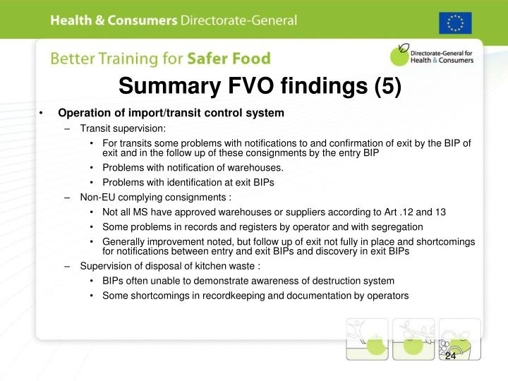 Summary FVO findings (5)