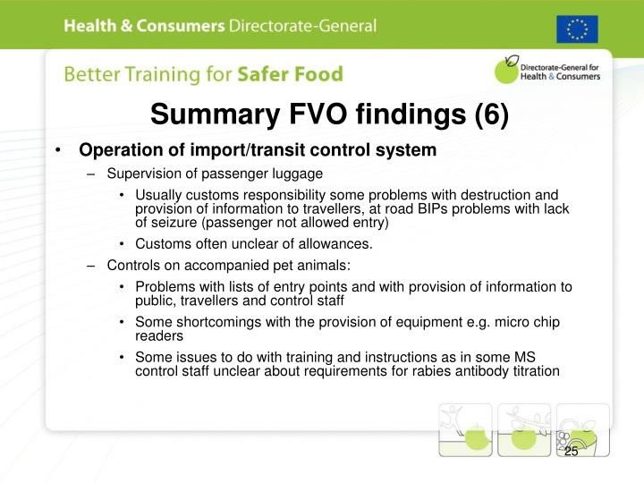 Summary FVO findings (6)