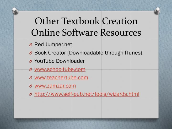 Other Textbook Creation Online Software Resources