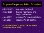 proposed implementation schedule