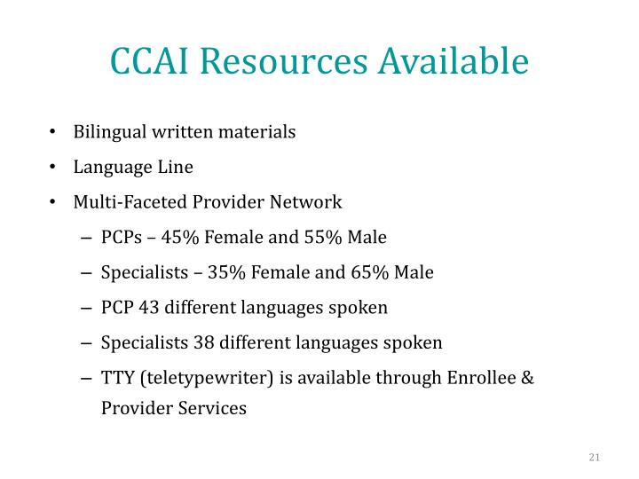 CCAI Resources Available