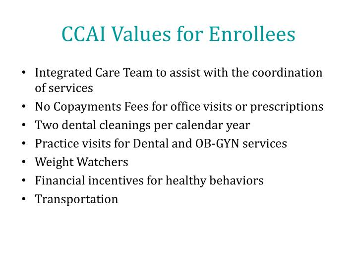 CCAI Values for Enrollees