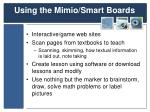 using the mimio smart boards