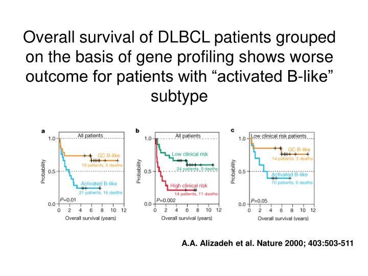 "Overall survival of DLBCL patients grouped on the basis of gene profiling shows worse outcome for patients with ""activated B-like"" subtype"