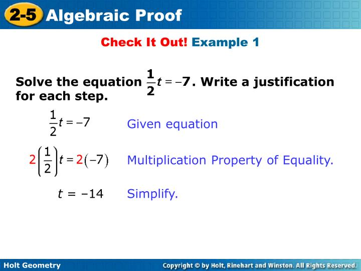 Solve the equation            . Write a justification for each step.