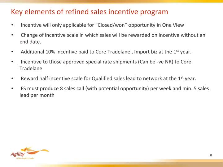 Key elements of refined sales incentive program