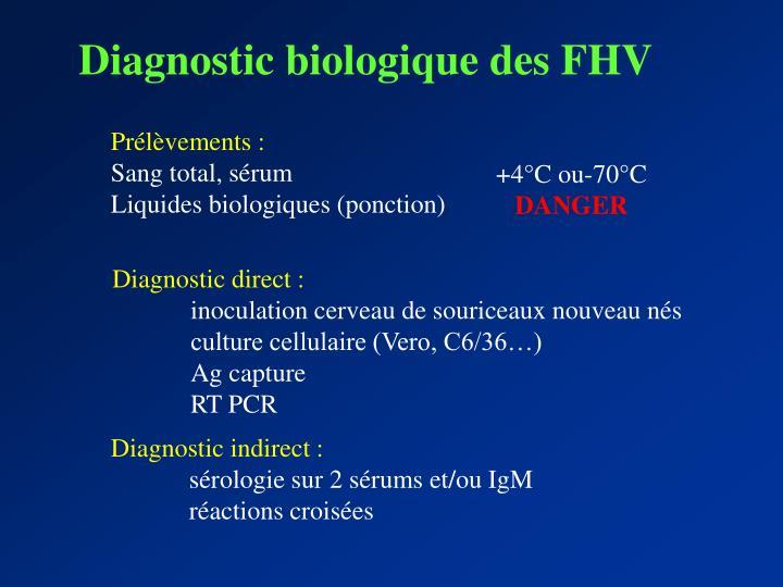 Diagnostic biologique des FHV