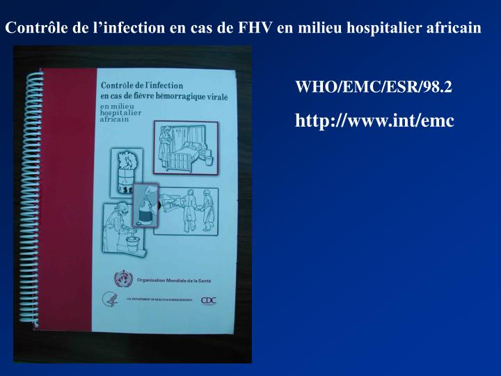 Contrôle de l'infection en cas de FHV en milieu hospitalier africain