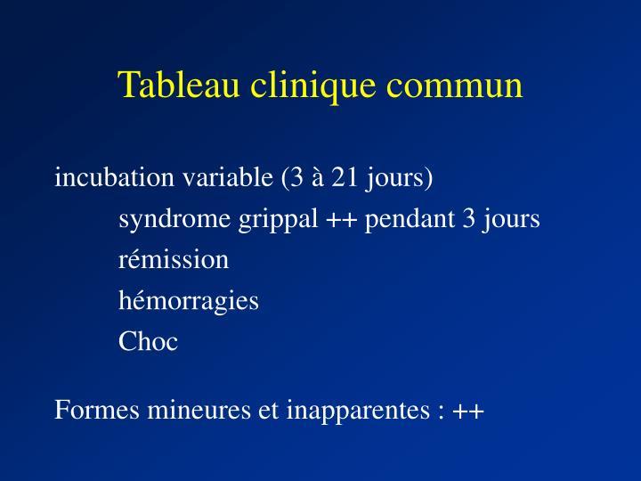 Tableau clinique commun