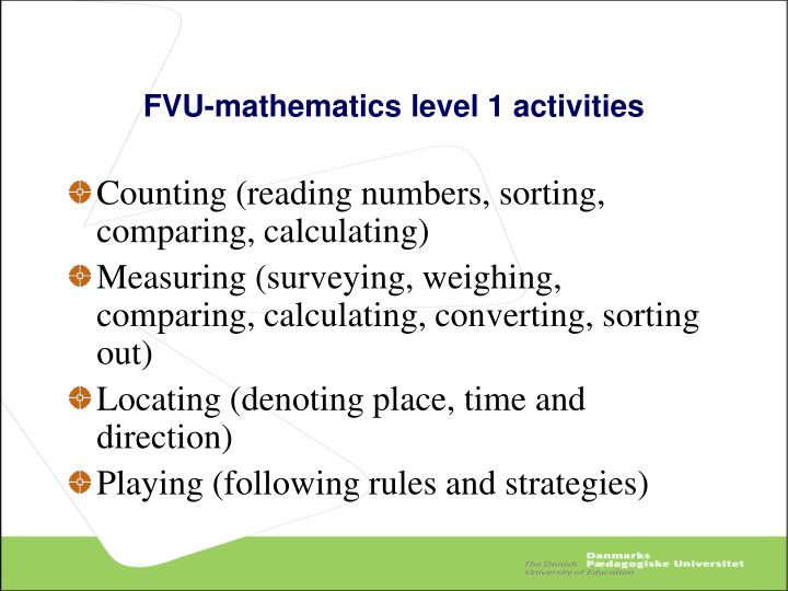 FVU-mathematics level 1 activities