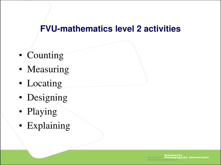 FVU-mathematics level 2 activities