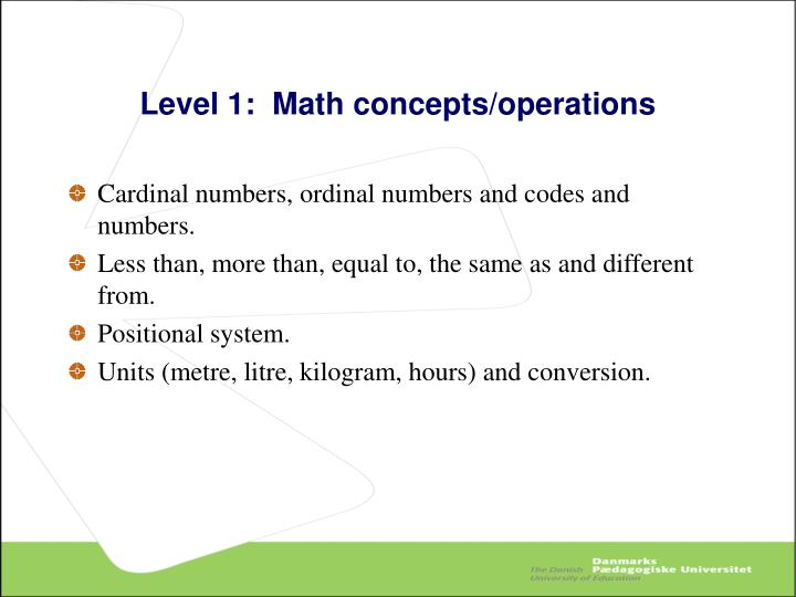 Level 1:  Math concepts/operations