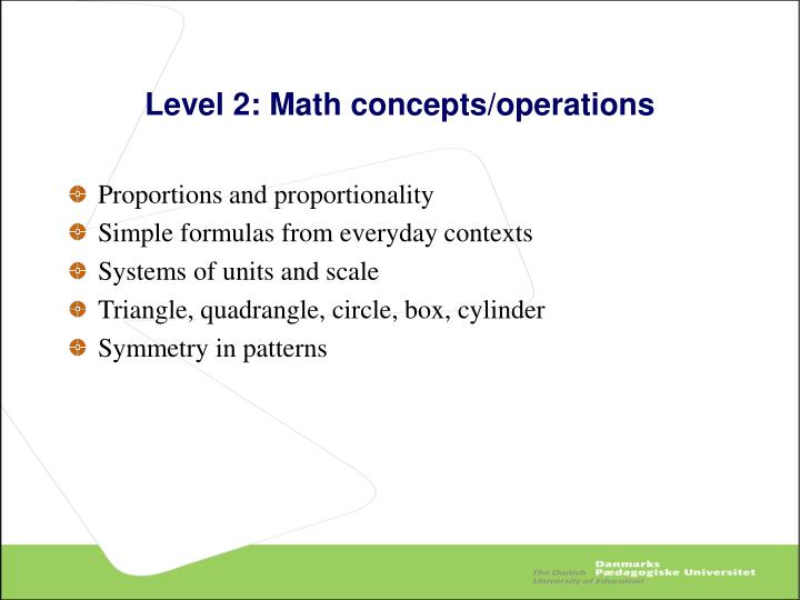 Level 2: Math concepts/operations