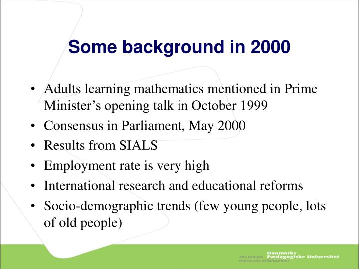 Some background in 2000
