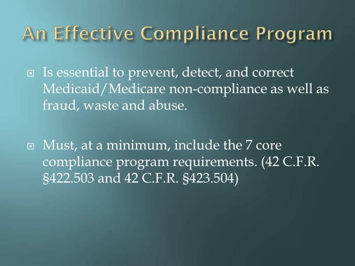 An Effective Compliance