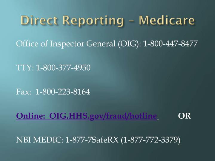Direct Reporting –
