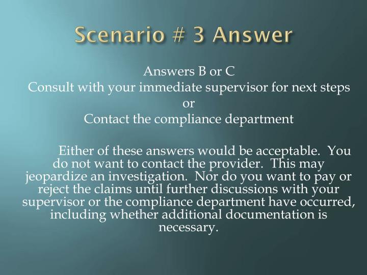 Scenario # 3 Answer