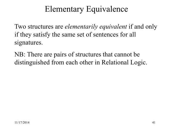 Elementary Equivalence
