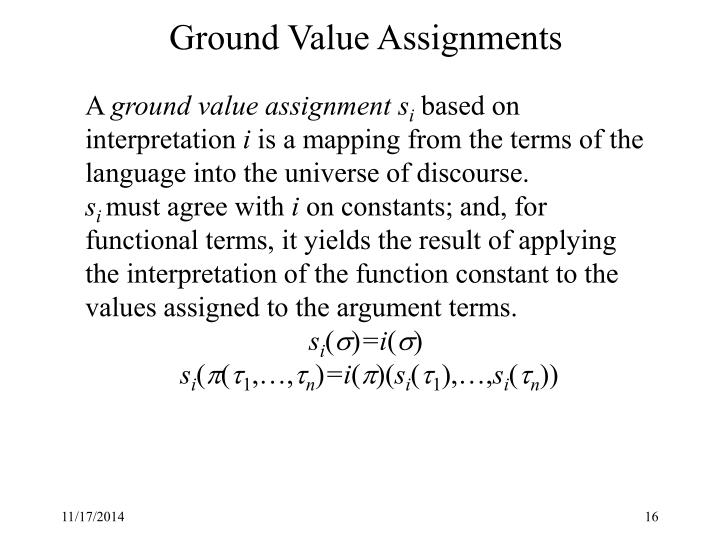 Ground Value Assignments