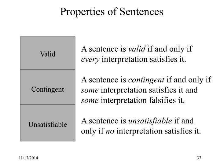 Properties of Sentences