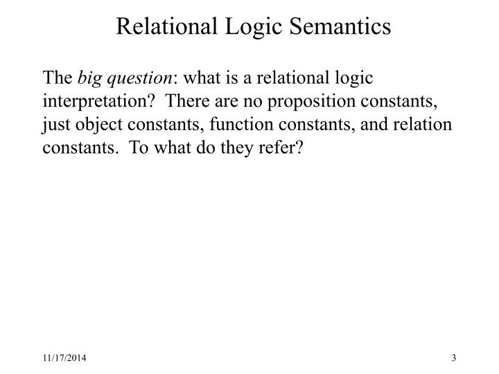Relational Logic Semantics