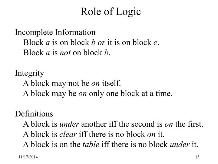 Role of Logic